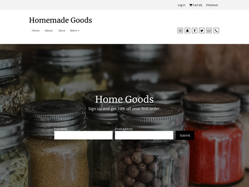 Home Goods website template